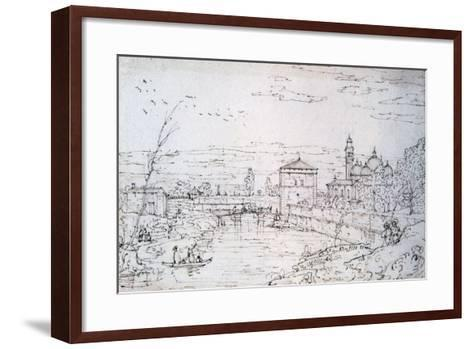 Bridge over the River and Santa Giustina, C1740-1780-Bernardo Bellotto-Framed Art Print