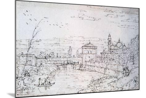 Bridge over the River and Santa Giustina, C1740-1780-Bernardo Bellotto-Mounted Giclee Print