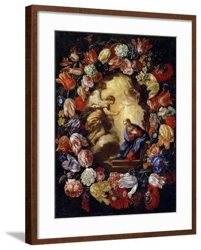 The Annunciation with Flowers, 17th or Early 18th Century-Carlo Maratta-Framed Art Print