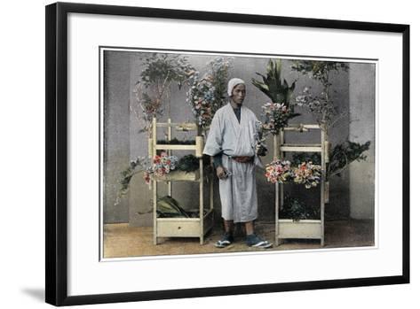 Flower Merchant in Japan, C1890-Charles Gillot-Framed Art Print