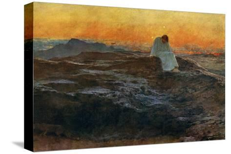 Christ in the Wilderness, 1898-Briton Riviere-Stretched Canvas Print