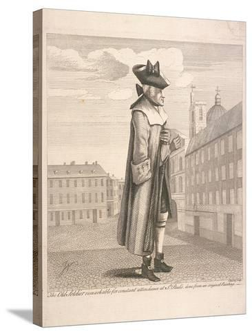 The Old Soldier Remarkable for Constant Attendance at St Paul's, C1760-C Mosely-Stretched Canvas Print
