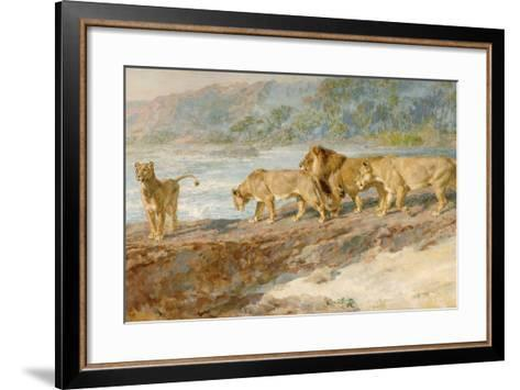 On the Bank of an African River, 1918-Briton Riviere-Framed Art Print