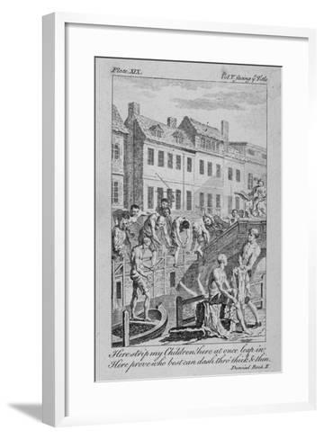 View of the Fleet Ditch with Bathers, City of London, 1750-Charles Grignion-Framed Art Print