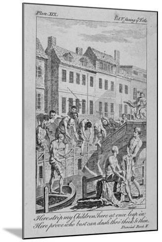 View of the Fleet Ditch with Bathers, City of London, 1750-Charles Grignion-Mounted Giclee Print