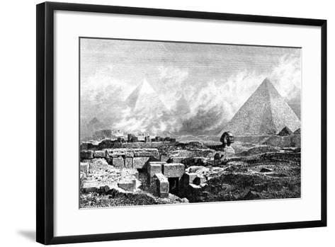 The Sphinx and Pyramids, Egypt, 1880-BH Fiedlen-Framed Art Print