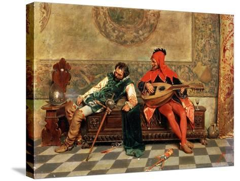 Drunk Warrior and Court Jester, Italian Painting of 19th Century-Casimiro Tomba-Stretched Canvas Print