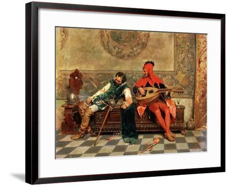 Drunk Warrior and Court Jester, Italian Painting of 19th Century-Casimiro Tomba-Framed Art Print