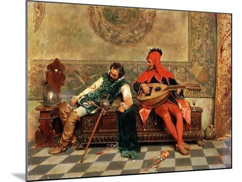 Drunk Warrior and Court Jester, Italian Painting of 19th Century-Casimiro Tomba-Mounted Giclee Print