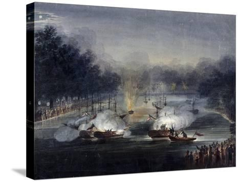 View of a Sham Fight on the Serpentine, Hyde Park, London, 1814-Charles Calvert-Stretched Canvas Print