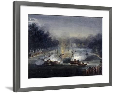 View of a Sham Fight on the Serpentine, Hyde Park, London, 1814-Charles Calvert-Framed Art Print