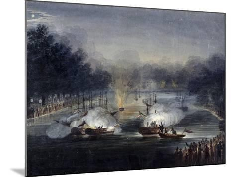 View of a Sham Fight on the Serpentine, Hyde Park, London, 1814-Charles Calvert-Mounted Giclee Print
