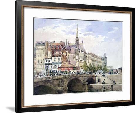 Saint-Michel Bridge, Paris, C1822-1878-Charles Claude Pyne-Framed Art Print