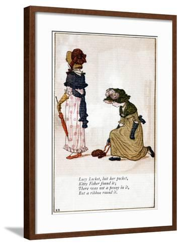 Illustration for Lucy Locket, Lost Her Purse, Kate Greenaway (1846-190)-Catherine Greenaway-Framed Art Print