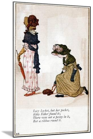 Illustration for Lucy Locket, Lost Her Purse, Kate Greenaway (1846-190)-Catherine Greenaway-Mounted Giclee Print