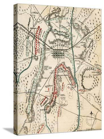 Map of the Battle of Gettysburg, Pennsylvania, 1-3 July 1863 (1862-186)-Charles Sholl-Stretched Canvas Print