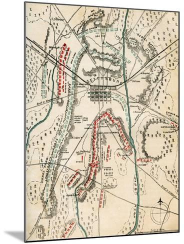 Map of the Battle of Gettysburg, Pennsylvania, 1-3 July 1863 (1862-186)-Charles Sholl-Mounted Giclee Print