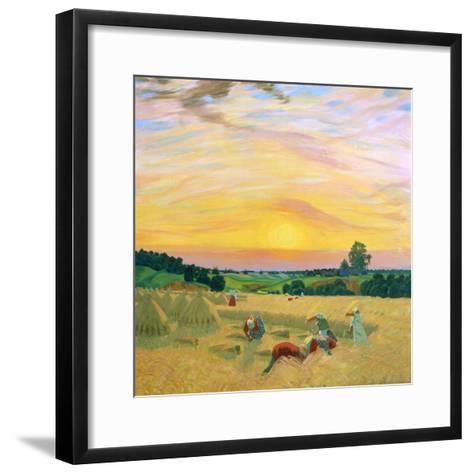The Harvest, 1914-Boris Mikhajlovich Kustodiev-Framed Art Print