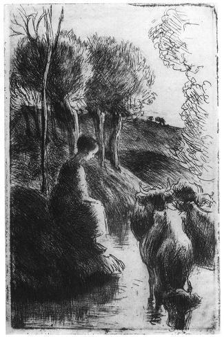 Vachere Au Bord De L'Eau, (Cowherd Beside Wate), C1850-1900-Camille Pissarro-Stretched Canvas Print