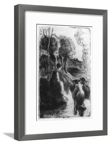 Vachere Au Bord De L'Eau, (Cowherd Beside Wate), C1850-1900-Camille Pissarro-Framed Art Print