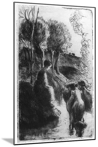 Vachere Au Bord De L'Eau, (Cowherd Beside Wate), C1850-1900-Camille Pissarro-Mounted Giclee Print