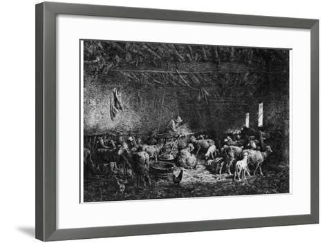 La Bergerie, (The Shepher), 1825-1890-Charles Emile Jacque-Framed Art Print
