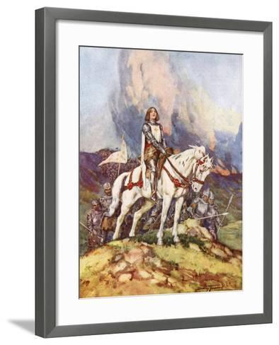 Joan of Arc, the Country Girl Who Led a King to Victory, 20th Century-C Dudley Tennant-Framed Art Print