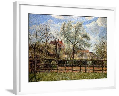 Pear Trees and Flowers at Eragny, Morning, 1886-Camille Pissarro-Framed Art Print