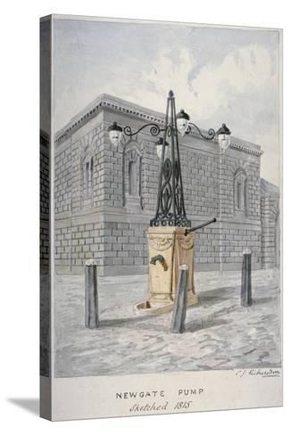 Newgate Pump, Old Bailey with Newgate Prison in the Background, City of London, 1815-Charles James Richardson-Stretched Canvas Print