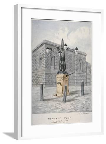 Newgate Pump, Old Bailey with Newgate Prison in the Background, City of London, 1815-Charles James Richardson-Framed Art Print