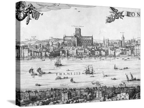 Panorama of London, 1616-Claes Jansz Visscher-Stretched Canvas Print
