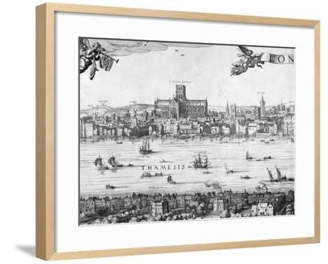 Panorama of London, 1616-Claes Jansz Visscher-Framed Art Print