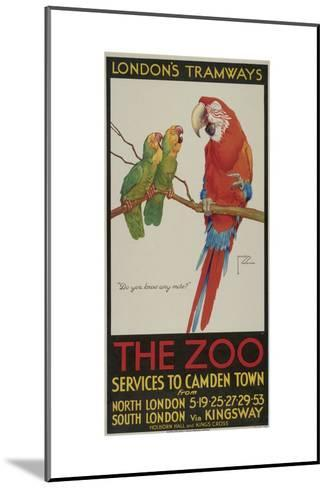 The Zoo, London County Council (Lc) Tramways Poster, 1932-Clarence Lawson Wood-Mounted Giclee Print
