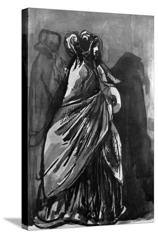 La Dame Au Chale, 19th Century-Constantin Guys-Stretched Canvas Print
