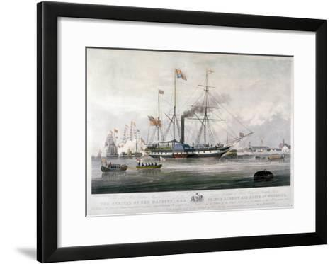 Queen Victoria and Prince Albert Arriving at the Royal Dockyard, Woolwich, Kent, 1843-E Duncan-Framed Art Print