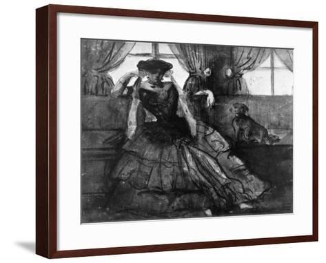 A Lady with Her Dog, 19th Century-Constantin Guys-Framed Art Print