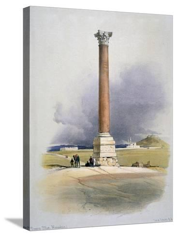 Pompey's Pillar, Alexandria, 19th Century-David Roberts-Stretched Canvas Print