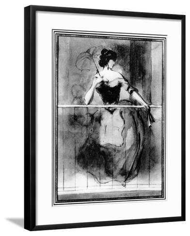 Lady at a Balcony, 19th Century-Constantin Guys-Framed Art Print
