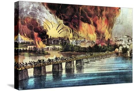 The Fall of Richmond, Virginia, American Civil War, 2 April 1865-Currier & Ives-Stretched Canvas Print