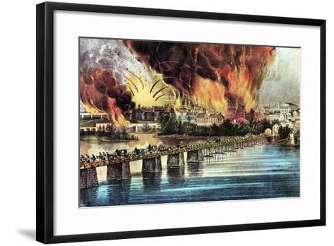 The Fall of Richmond, Virginia, American Civil War, 2 April 1865-Currier & Ives-Framed Art Print