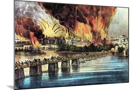 The Fall of Richmond, Virginia, American Civil War, 2 April 1865-Currier & Ives-Mounted Giclee Print