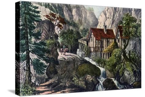 Old Swiss Mill, 1872-Currier & Ives-Stretched Canvas Print