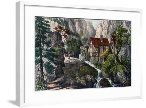 Old Swiss Mill, 1872-Currier & Ives-Framed Art Print