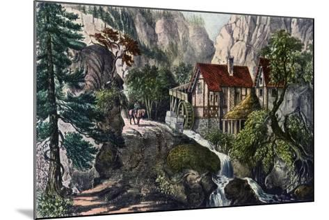 Old Swiss Mill, 1872-Currier & Ives-Mounted Giclee Print