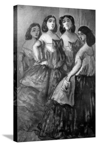 Four Girls, 19th Century-Constantin Guys-Stretched Canvas Print