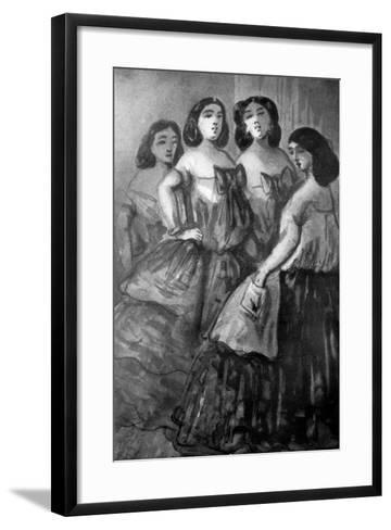 Four Girls, 19th Century-Constantin Guys-Framed Art Print