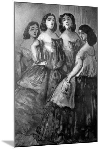 Four Girls, 19th Century-Constantin Guys-Mounted Giclee Print