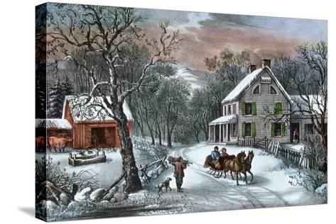 American Homestead in Winter, 1868-Currier & Ives-Stretched Canvas Print