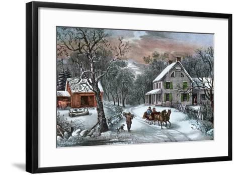 American Homestead in Winter, 1868-Currier & Ives-Framed Art Print
