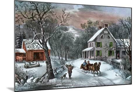 American Homestead in Winter, 1868-Currier & Ives-Mounted Giclee Print